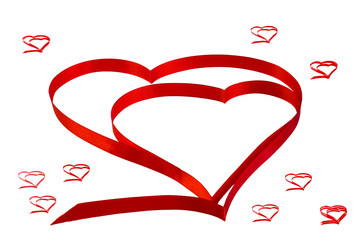 "isolated heart of red ribbon on a white background for the  Valentine""s holiday day"