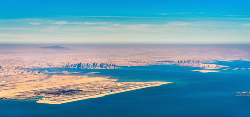 Aerial view of Doha and Hamad International Airport. Qatar, the Middle East