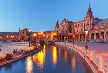 Spain Square or Plaza de Espana in Seville during evening blue hour, Andalusia, Spain