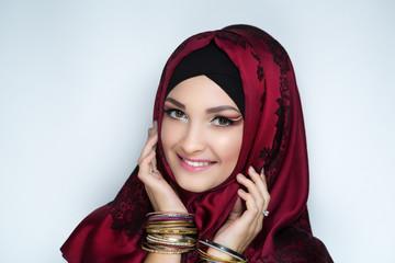 girl in a headscarf hijab
