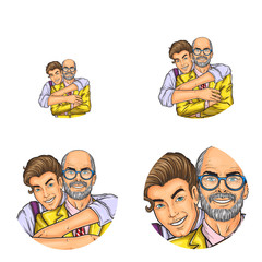 Vector pop art avatars for social network chat user profile or blog account picture icon template. Grandson young boy embracing adult grandfather man in glasses happy smiling. Retro sketch set