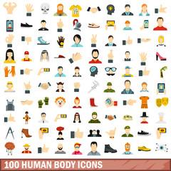 100 human body icons set, flat style