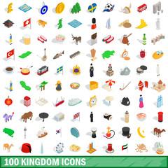 100 kingdom icons set, isometric 3d style