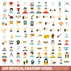 100 medical anatomy icons set, flat style