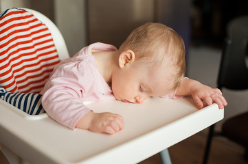 Tired child sleeping in highchair after the lunch. Cute baby girl over eating and fall asleep just after feeding, lying his face on the table tray.