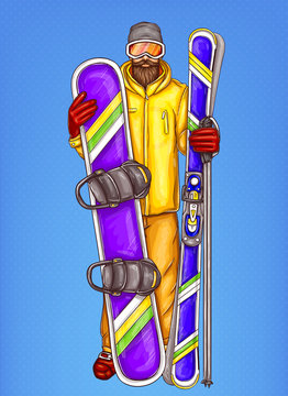 Vector pop art snowboarder - bearded man in snowboarding suit, glasses, helmet, holding snowboard, skiing. Advertising, promotion illustration for rent of extreme sport equipment on blue background.