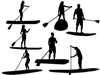 Paddling surfer silhouette