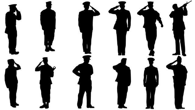 Military man salute silhouette