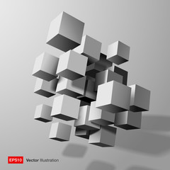 3d white cubes - abstract gray white composition . Vector illustration.