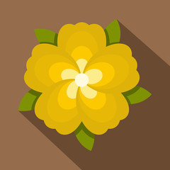 Yellow flower icon, flat style