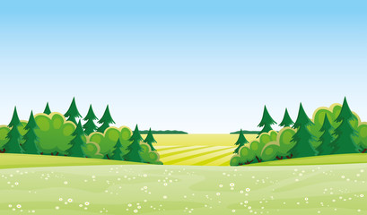 Beautiful summer landscape with meadow and trees.