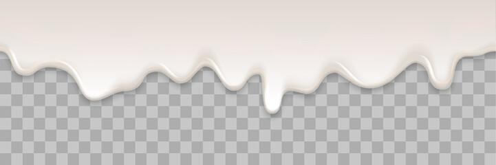 Yogurt creamy liquid or yoghurt cream melt splash flowing background. Vector white milk splash or ice cream flow soft texture on transparent background for sweet dessert design