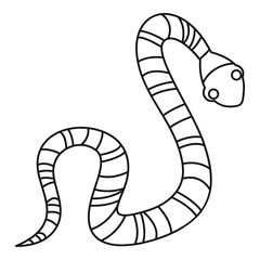 Striped snake icon, outline style
