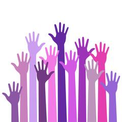 Violet colorful up hands logo, vector illustration