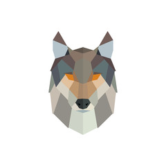 Vector polygonal wolf head. Low poly animal illustration. Vector image.