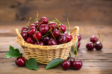 Fresh cherries in the basket