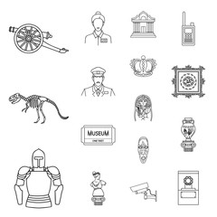 Museum and gallery outline icons in set collection for design. Storage and exhibition of showpiece vector symbol stock web illustration.