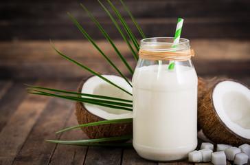 Coconut milk in the glass jar