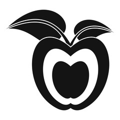 Apple with leaves icon, simple style