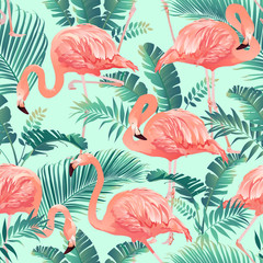 Flamingo Bird and Tropical palm Background Seamless pattern vector.
