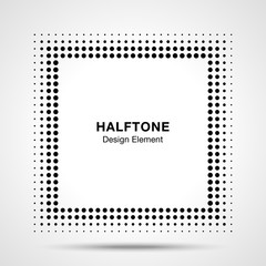 Wall Mural - Black Abstract Halftone Square Frame Background. Vector illustration.