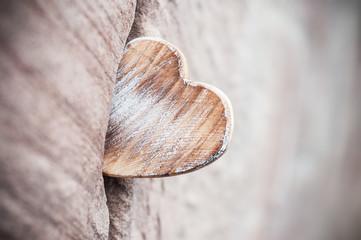 coeur en bois coincé dan un mur de pierre