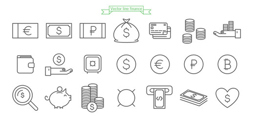 Money line icon set. Finance coin thin outline vector sign collection