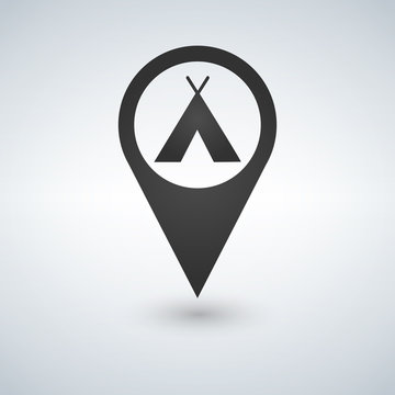 Camping base location icon. Drop shadow map pointer silhouette symbol. Vector isolated illustration.