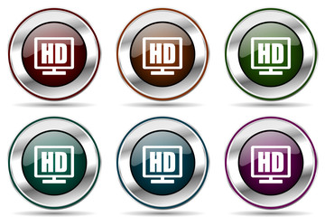 Hd display vector icon set. Silver metallic chrome border icons for web design and smartphone applications