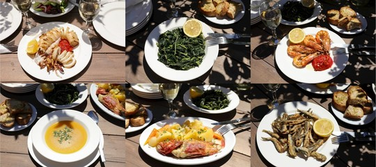 Collage of different five seafood dishes, one greens salad of delicious greek cuisine, healthy Mediterranean lunch concept.
