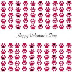 Red paw print with hearts background. Happy Valentine's day greeting card