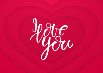 Vector illustration: Handwritten lettering of I Love You on paper heart background