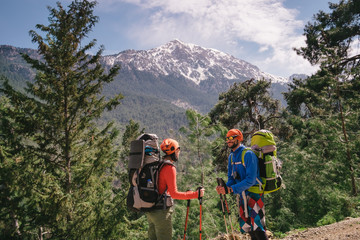 Hikers on the lycian trail to Olympos mountain, Turkey