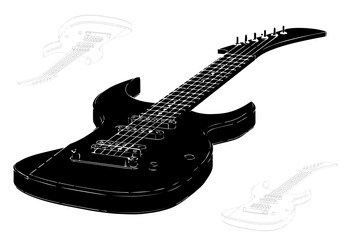 black guitar on white background