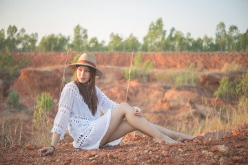Portrait of bohemian woman on sunset,Lifestyle of modern thailand girl