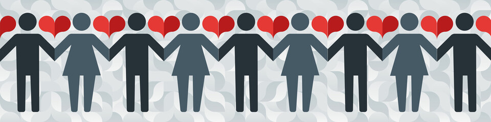 Pictograms of men and women holding hands on the background of an abstract pattern and hearts.