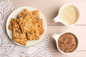 Healthy snack: vegan biscuits with sesame seeds and and flax seeds