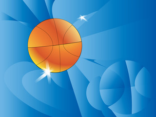 Abstract sports background. Vector illustration with ball for design. The star touches the ball basketball. A pseudo polygon. Basketball themed blue background