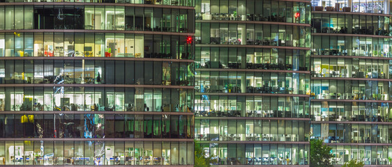 LONDON, GREAT BRITAIN - SEPTEMBER 17, 2017: The offices on the riverside at night.