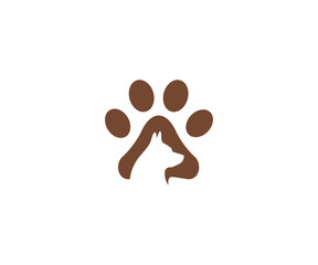 Dog and paw logo template. Pet vector design. Animal illustration