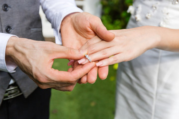 Groom wear a ring to bride in wedding day.