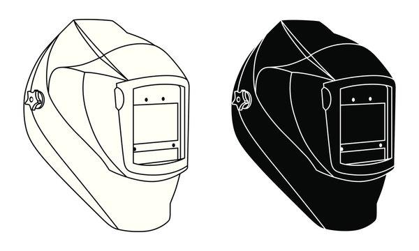 Welding helmet black and white silhouette