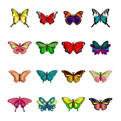 Butterfly collection icons set, cartoon style