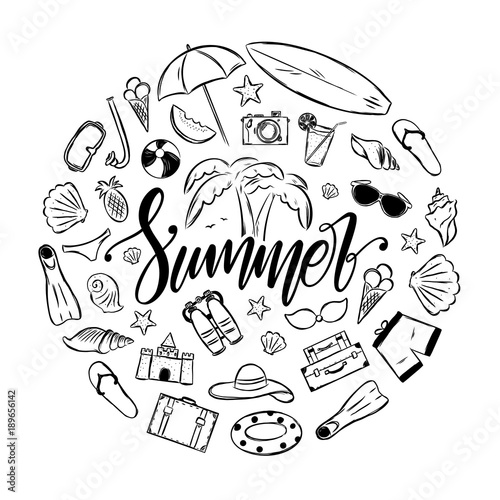 64facc5ca3f47 Handwritten elegant brush lettering of Summer with set of vacation  elements. Tropical Journey decoration.
