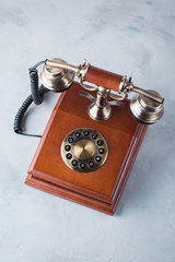 retro phone, wooden, old, telephone on a gray table