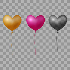 Red black and gold balloon hearts on transparent background. Vector