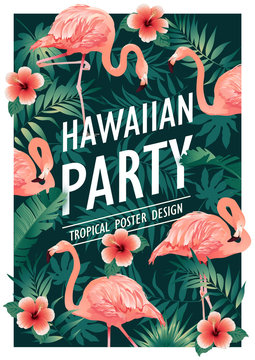 Hawaiian party. Vector illustration of tropical birds, flowers, leaves. Vector illustration.