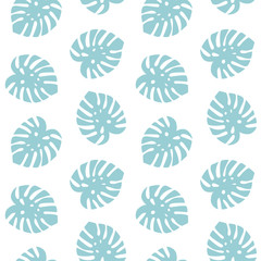 monstera blue leaves tropical summer paradise pattern on a white background seamless vector