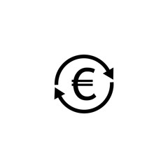 Exchange, money, euro transfer icon, vector illustration.