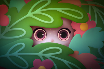 Kawaii funny face with big purple eyes peeps out from the cartoon bushes. Little girl peeking through the leaves. Cartoon Background. 3d rendering.